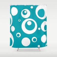 Circles Dots Bubbles :: Turquoise Shower Curtain