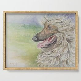 Afghan Hound Greyhound Dog portrait Watercolor Painting Serving Tray