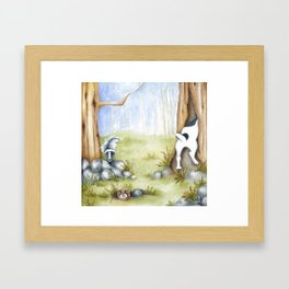 Hide and Seek Dog Original art Jack Russell Terrier JRT painting Framed Art Print
