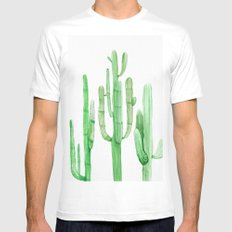Three Amigos Cacti Green Mens Fitted Tee White LARGE
