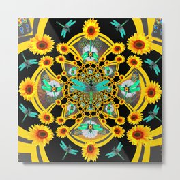 BLUE DRAGONFLIES YELLOW-BLACK GEOMETRIC ART Metal Print
