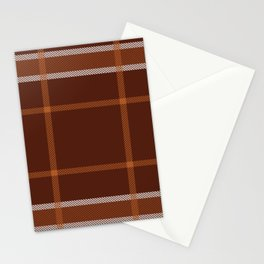 Plaid White And Brown Lumberjack Flannel Stationery Cards