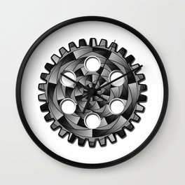 Gearwheel in black and white Wall Clock