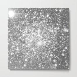 Silver Gray Galaxy Sparkle Stars Metal Print