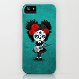Day of the Dead Girl Playing Guatemalan Flag Guitar iPhone Case