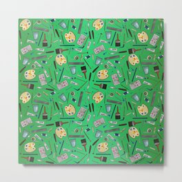 Painter's Supplies - Green Metal Print