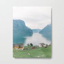 Farmhouses Overlooking a Moody Fjord | Norway Country Side Lake, Mountains and Sheep | Scandinavia Travel Photography Metal Print
