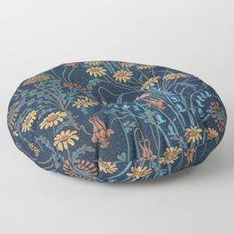 Dolce Donum Blue Floral by Walter Crane Floor Pillow