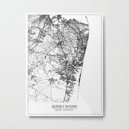 Jersey Shore, New Jersey Map Art (White) Metal Print