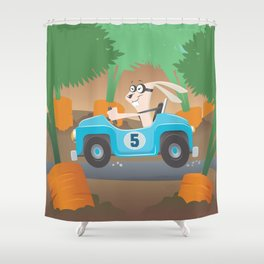 Bunny Racer Shower Curtain