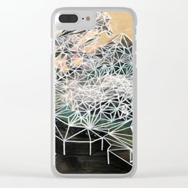 Geometric landscape painting on wood Clear iPhone Case