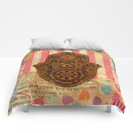 Hearts and Butterfly Hamsa Comforters