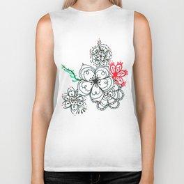 31. Elegant Japanese Henna Flower Biker Tank