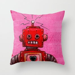 Orange-bot Throw Pillow