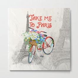 Vintage Red Bicycle with Flower Basket Paris Metal Print