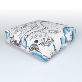 Teal Tentacles Vintage Map Ink Chic Outdoor Floor Cushion