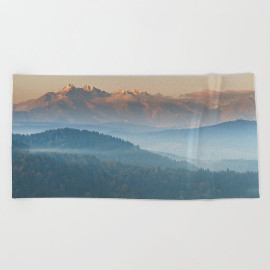 The mountains are calling #sunset Beach Towel