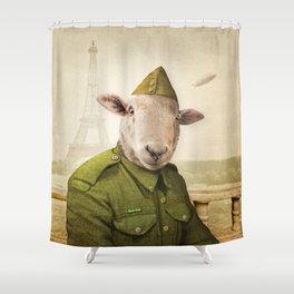 Private Leonard Lamb visits Paris Shower Curtain