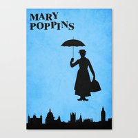mary poppins Canvas Prints featuring Mary Poppins by TheWonderlander