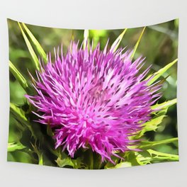 Purple Thistle Wildflower Wall Tapestry