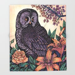 Great Grey Owl At Sunset Throw Blanket