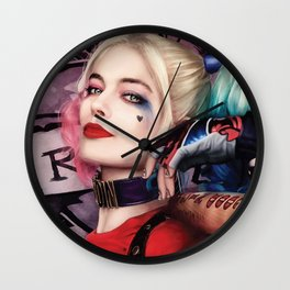 Margot Robbie as Harley Quinn Digital Painting - Suicide Squad Wall Clock