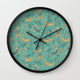 Cute cats. Blue pattern Wall Clock