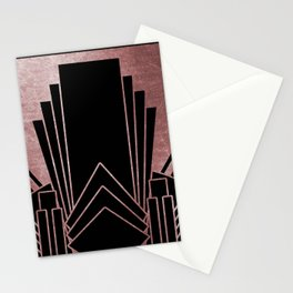 Art deco design - deep rose Stationery Cards