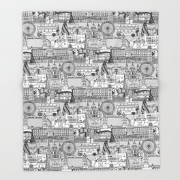 London toile black white Throw Blanket