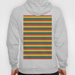 Retro colors horizontal lines green red yellow Hoody