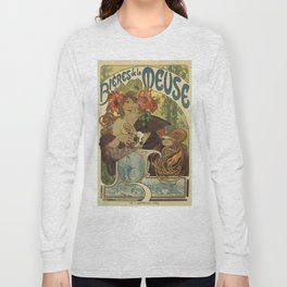 Alfons Mucha art nouveau beer ad Long Sleeve T-shirt