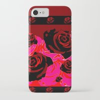 50s iPhone & iPod Cases featuring 50s ROSES BLACK PRINT by Marmalademudpie and Me