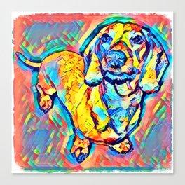 Colorful Popart Dachshund Canvas Print