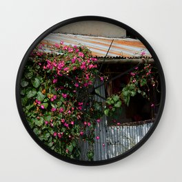 RUSTIC FRONT PORCH IN NEPALI BLOOM Wall Clock