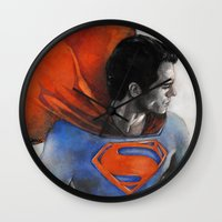 man of steel Wall Clocks featuring Man of Steel by Christine Chang