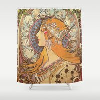 art nouveau Shower Curtains featuring Art Nouveau by NELOS Cisneros