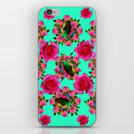 GREEN PEACOCK & PINK ROSE PATTERN ART iPhone Skin