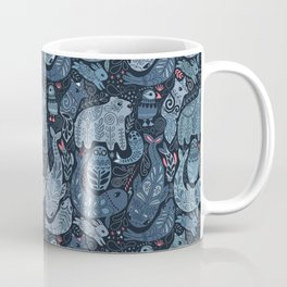 Arctic animals. Polar bear, narwhal, seal, fox, puffin, whale Coffee Mug