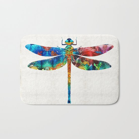 Colorful Dragonfly Art By Sharon Cummings Bath Mat