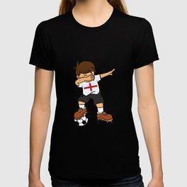 England Soccer Ball Dabbing Kid British Football 2018 T-shirt