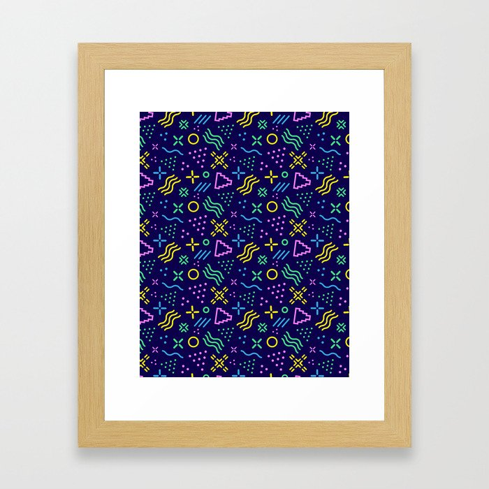 Retro 80s Shapes Pattern Framed Art Print