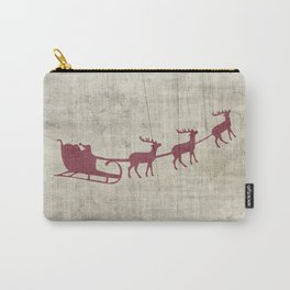 Rustic Santa and Reindeer Carry-All Pouch