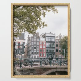 City Centre of Amsterdam, the Netherlands || Colourful travel photography wall art Cityscape Buildings Bridge Architecture Serving Tray