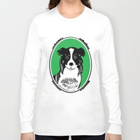border collie Long Sleeve T-shirts featuring Border Collie Printmaking Art by Artist Abigail
