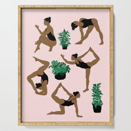 yoga with plants Serving Tray