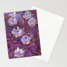 White roses, purple leaves Stationery Cards