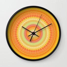 Bright Yellow Orange Mandala Wall Clock