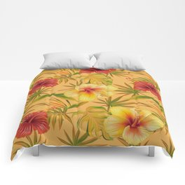 Leave And Flowers Pattern Comforters