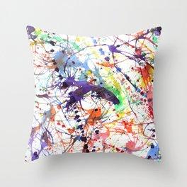 Watercolor Splatters Throw Pillow