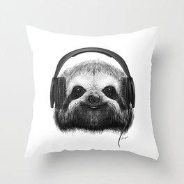 Sloth DJ Throw Pillow